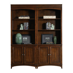 "Hooker Furniture - Hooker Furniture Latitude Bunching Bookcase - The luxurious Latitude collection is crafted using hardwood solids and walnut veneers. Two adjustable shelves. Two doors with one adjustable shelf behind. Hardwood Solids and Walnut Veneers. Dimensions: 32""W x 16.25""D x 80.5""H."