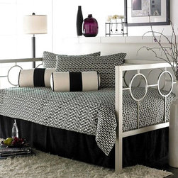 Leggett/Platt Fashion Bed - Astoria Daybed in Champagne Finish (w/o Link - Choose Type: w/o Link SpringCircular design elements add visual interest to the metal frame of this contemporary daybed, an innovative, sculptural addition to any decor. Perfect for adding extra seating and sleeping space to an urban loft or condo, the bed is finished in a durable powder coat in a brilliant shade of champagne. Clean lines and pristine finish of the Astoria daybed accentuate its ultra modern style. Contemporary in design. Circle motif gives it a retro air. 1 3/4 in. square tube frame gives the daybed a sturdy structure. Open design makes it appear almost delicate. Champagne finish. Pale amber metallic powder coat with a deep luster. Arms and back meet at the same 38 in. H and form a perfectly squared profile. A chic piece of furniture and would do well in most any room. Mattress and Bedding not included. 79.75 in. W x 39.25 in. D x 38 in. H (109 lbs.)