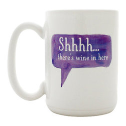 """Milk & Honey Luxuries - Shhhh...There's Wine In Here Coffee Mug - This 15 oz coffee mug gives your secret away with """"Shhhh... there's wine in here"""" in a purple watercolor text box."""
