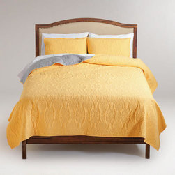 Yellow and Frost Gray Simone Reversible Quilt -