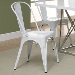Monarch - White Glossy Metal 33in.H Cafe Chair - Set of 2 - Bring together contemporary design with industrial styling, this white rounded chair is a fashionable statement for all rooms. Built from heavy duty steel, the bent back chair has a stationary seat for added comfort. This glossy white finish will brighten any room, allowing it to easily coordinate with your existing decor. Perfect for pulling up to a table, desk or in any room. Arrives fully assembled.
