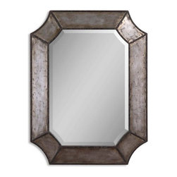 Uttermost - Elliot Distressed Aluminum Mirror - Frame is made of distressed, hammered aluminum with burnished edges and rustic bronze details.