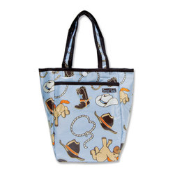 """Trend Lab - Diaper Bag - Cowboy Mini Tote - Trend Lab's Mini Tulip Tote is the perfect on-the-go accessory for quick outings where a large diaper bag is unnecessary. It's perfect for short shopping trips and can hold a bottle, diapers, wipes and other small necessities! Or use this wonderful bag as a toy bag, beach bag, lunch tote, or cosmetic bag. This Mini Tulip Tote allows you to conveniently pack the essentials and go!. Cowboy Mini Tulip Tote features a whimsical Cowboy scatter print in powder and dusk blue, chocolate, caramel, desert sand, and burnt orange with a bandana print trim and lining. Bag features a laminated exterior for easy clean up and durability, a snap closure and one exterior pocket. Bag measures 7"""" x 9 1/2 """" x 4"""" and features two handles measuring 16 1/2 """" in length."""