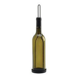 KOOLEKOO - Wine Bottle Candleholder - A tasteful way to infuse your love of wine with your love of candlelight! This olive green glass wine bottle features a matte-black foil wrap at top, and the metal framework cradles the bottle and creates an easy hanging loop for mounting this unique wine-inspired lighting accent on your wall.