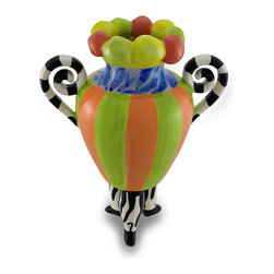 Zeckos - Erich Emmenegger Colorful 3-Legged Striped Jester Vase 10 in. - This wildly beautiful vase is designed by artist Erich Emmenegger, who creates his unique vision with bright and wild color schemes sure to bring a bit of fun to your home This fun and colorful striped vases is featured in green, orange, yellow, and blue with black and white striped handles, and 'stands' on 3 zebra striped legs Measuring 10 inches tall, 4.75 inches in diameter (25x12 cm), and 8 inches wide including the handles, this ceramic vase is sure to capture attention on any table, shelf or bookcase in your home, or the home of a friend