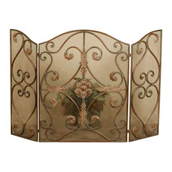 Uttermost Jerrica Metal Fireplace Screen - Light brown and mahogany undercoats with a light tan glaze and a dark brown wash. This lovely fireplace screen is made of hand forged metal with wire mesh panels. The mahogany base-coat has light brown accents with tan glaze and dark brown wash.