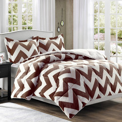 Premier Comfort - Premier Comfort Printed Microlight Down Alt Comforter Mini Set - Want style and warmth this season? The Printed Microlight down alternative comforter mini set is perfect for you! The comforter and sham features a overscale brown chevron pattern that is printed on off white microlight fabric. This fabrication is knitted with the best technology to provide ultra loft and softness. The reverse is made of long fur fabric. The comforter is fill with down alternative to provide extra warmth and comfort. Comforter: 220gsm printed micrlight face, 220gsm natural colour long fur back, knife edge, 6D fiber fill-35oz, sewn thru box; Sham: 220gsm printed microlight face, 220gsm natural colour long fur back, knife edge, overlap at back
