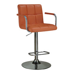 Adarn Inc. - Adjustable Leather-Like Vinyl Seat Foot Rest Chrome Base Arms Bar Stool - This adjustable bar stool is an excellent addition to your home. The back and seat is upholstered in a durable leather-like vinyl with paneled cushioning for long-lasting comfort. The pedestal base is completed in a chrome-colored finish and includes a footrest. The arms reach up from the seat towards the back and have coordinating leather-like vinyl for added comfort. The height is adjustable and ranges from 27.5'' to 43.5''H.