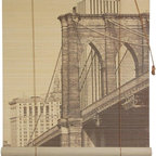 Oriental Furniture - Brooklyn Bridge Bamboo Blinds - (24 in. x 72 in.) - This all natural bamboo blind features a dramatic view of New York City's iconic Brooklyn Bridge. Make a sophisticated statement in your home with this premier example of 19th century American architecture.