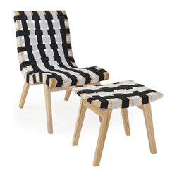 EZMod Interiors - Woven Lounge Chair & Ottoman, Black and White - The iconic Lounge Chair was originally constructed of a birch frame and surplus parachute straps by modern danish designer Jens Risom in 1943. This quality reproduction is a very simplistic design that offers an extremely comfortable seating option. Sturdy elastic straps form the comfortable and strong seating with wood frame. This minimalist design looks exotic and suits any decor arrangement.
