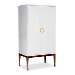 Kathy Kuo Home - Harrison Hollywood Regency White Lacquer Brass Cabinet Wardrobe - This tall, elegant hardwood cabinet stores your wardrobe in style. Finished in pristine white lacquer, double doors  are joined in the center with a large, polished brass handle. The spacious interior has room for hanging clothes, stacking blankets and other storage needs.