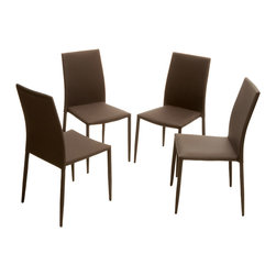 Great Deal Furniture - Baxley Fabric Dining Chairs (Set of 4), Brown - The Baxley Dining Chairs offer a modern look with the unique twist of a steel tube frame. These sleek chairs can function as dining chairs or accent pieces and will compliment any decor in your home