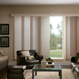 Bali® Sliding Panels: Promenade & Rafia - Bali Sliding Panels offer a modern alternative to standard window treatments.  Perfect for patio doors, wide windows or as a room divider, these versatile panels slide along a smooth operating aluminum track.  This collection is made of light filtering fabrics.  Customize your blind with an upgrade valance or wood cornice, or complete your room with a coordinating shade.