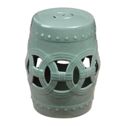 Uttermost - Uttermost 24601  Old Sage Ceramic Garden Stool - A fresh, sage colored room accent based on chinese tradition, this ceramic garden stool has an airy feel, crafted by hand with open cutouts and raised dot accents.