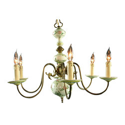 EuroLux Home - Consigned Vintage Polychrome Delft Chandelier from - Product Details