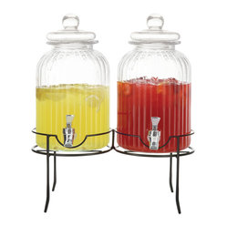 Jay Import Co - Springfield Set of 2 Beverage Dispensers with Stand - Have two kinds of cold drinks on tap at your next party. These good-looking glass dispensers have the retro appeal of apothecary jars and rest securely on their own metal stand.