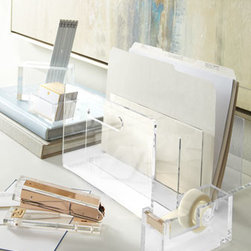 """Horchow - Acrylic Three-Tier """"In"""" Box - We love acrylic desk accessories as much now as we ever have, partly (okay, mostly) because they've got that timelessly cool vibe and partly because they help keep everything right where it should be. Crafted of 0.25""""-thick clear acrylic with polished...."""