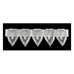 Z-Lite - Z-Lite Tango Bathroom Light X-V5-HC868 - Glittering crystal, draped perfectly over the chrome fixture, allows for a statement of unstrained elegance on this five light vanity.