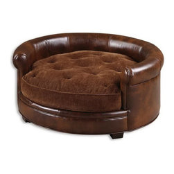 Uttermost - Uttermost 23025  Lucky Designer Pet Bed - Man's best friend deserves to have a stylish and comfortable bed also and here you have it. this bed features durable, brown imitated leather with a plush, russet brown cushion that is tufted and reversible, and buckles to the hardwood frame.