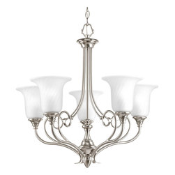 Progress Lighting - Progress Lighting P4238-09 5-Light Chandelier with Swirled Etched Glass Trumpet - Progress Lighting P4238-09 5-Light Chandelier with Swirled Etched Glass Trumpet Shaped Shades