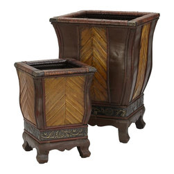 Nearly Natural - Decorative Wood Planters - Set of 2 - A gorgeous fusion of texture and color. Thick , sturdy legs for stability. Upward plank design and burgundy trim work. Construction Material: Wood, PVC Leather. 9.0 in. W x 9.0 in. D x 12.5 in. H . 13.0 in. W x 13.0 in. D x 18  in. HAn interesting looking collection, decorated with a gorgeous fusion of textures and color. Resting on a thick sturdy base, the 18 inch planter box and its 12.5 inch companion come with an intricately designed vine and flower design. Above you'll marvel at the upward golden planks surrounded with variety of burgundy trim work. Perfect for anywhere you want a touch of boldness and class.