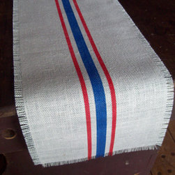 Burlap Table Runner, Red and Blue Stripes by North Country Comforts - If you'd rather forgo a full tablecloth, a runner with red and blue stripes would also add some color.
