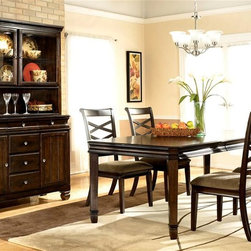 ivgStores Furniture - 7 Pc Wood Dining Room Set - Create the dining room of your dreams with this seven-piece set, featuring a rectangular table, four upholstered chairs with X-shaped back accents and an elegant buffet and hutch set that will be a bold focal point in any decor. The set is made of hardwoods and veneer in a dark brown finish. Chairs are upholstered in a creamy cocoa. Set includes Rectangular Table, 4 side chairs, buffet and china. Color/Finish: Dark Brown. Made with select veneers and hardwood solids. Felt drawer bottoms. Concave drawer and profile detail. Antique nickel color hardware. Features under the table storage with wine glass holders and bottle support bars. Table: 40 in. W x 70-88 in. L x 30 in. H. Side Chair: 20 in. W x 24 in. L x 41 in. H. Buffet: 52 in. W x 20 in. L x 38 in. H. China: 52 in. W x 15 in. L x 40 in. H
