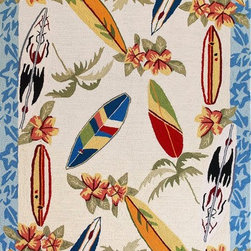 "Kas - Surf Boards Ivory Sonesta Novelty 2'3"" x 3'9"" Kas Rug  by RugLots - Join us in the fun as you coast through our Sonesta Collection. Hand-hooked in China of 100% polyester, these rugs will add pizzazz to any room throughout your home. Some are fun, some are flirty"