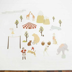 Mae Wall Decals Faraway Circus - The muted colors of these wall graphics are a nice break from all the bright wall art I've seen. Kids will love that they're rearrangeable too.
