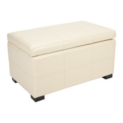 Safavieh - Safavieh Broadway Flat Cream Leather Medium-size Storage Bench - Add a stylish yet functional piece to your living room d�cor with this lovely medium-size leather storage bench. This storage bench has a flip top,so it can easily be lifted up and is a great place to hide your childs toys for when guests come over.