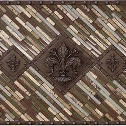 """Landmark Metalcoat Studded Fleur Mosaic Tile Backsplash Medallion 24""""X36"""" - All Landmark Metalcoat products are made to order. lead time 3 -5 weeks. Proudly made in the USA. Size: 24x36 inches Mesh mounted for easy installation."""