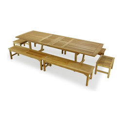 Westminster Teak Furniture - Teak Picnic Table Set - Teak Picnic Tables are hard to find, but look no further! Our Elegant Teak Outdoor Picnic Table Set is made of the finest choice cuts of premium teak wood. Seats at least 12 adults and even more kids. This teak patio set includes 1 Grand Veranda Flex Leg teak Table combined with 4 5Ft Backless Teakwood Benches as well as 2 of our Westminster Teak Footstools.