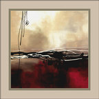 """Amanti Art - """"Symphony in Red and Khaki I"""" Framed Print by Laurie Maitland - Create a thoughtful mood with a dramatic burst of light, breaking from behind golden-grayish clouds, above a crimson and black sea. Abstract though it may be, Laurie Maitland's print evokes light and shadow with a simple palette of red and khaki. Fine lines in jet black and white provide details and add an unexpected twist."""