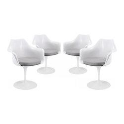 Modway Imports - Modway EEI-1260-GRY Lippa Dining Armchair Set of 4 In Gray - Modway EEI-1260-GRY Lippa Dining Armchair Set of 4 In Gray