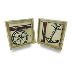 Zeckos - Distressed Finish Anchors Away Nautical Wall Hanging Set of 2 - Hang these distressed finish nautically inspired wall hangings to add a beautiful coastal accent to your room and a bit of Americana to your walls. This set of wall art prints features a navy blue ship's anchor and wheel on a raised background, adding a dimensional effect as well. Made from durable heavy duty plastic, the frame has a hand-painted distressed finish and printed vinyl images. Each 13 in. Long, 13 in. High, 1 in. Deep piece easily hangs from just about anything to accent your entryway, living room, bedroom, porch or covered patio