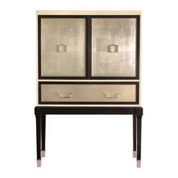 """Belle Meade - Belle Meade Bijou Bar Cabinet - Fashion meets function as the Bijou bar cabinet makes a luxurious statement with modern glamour. Belle Meade Signature defines this simple silhouette with rich borders around its sterling-finished drawer and door fronts. The cabinet opens to a fully lit bar. 47""""W x 18""""D x 68-1/2""""H; Fine furniture craftsmanship, heirloom quality; Sustainably harvested maple hardwood, Lacey Act compliant; Table top is sapele hardwood veneer using 5-ply, crossbanded construction for durability with solid wood edge band; Finishes applied by hand: Vanilla Creme outside case, Sterling drawer and door fronts, Espresso Luxe border and legs; Cabinet opens to reveal bronze mirror backing for case and dimmer switch display lighting; Adjustable glass shelves for wine glass storage; Removable serving tray; Corner blocks and mortise & tenon joinery; Solid brass hardware and ferrule caps are old-wax cast, then hand polished and finished in chrome"""