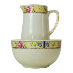 None visible - Consigned Milk Jug and Sugar Bowl Set in Porcelain with Floral Decoration - Porcelain creamer and a sugar bowl with a printed band of flowers on a yellow ground with gilded borders, antique English Victorian, circa 1900.This is an antique One of a Kind item. Some wear and imperfections are to be expected, as described.