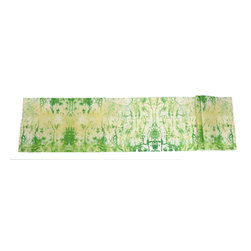 The Artist's Table - Green  Lichen  Table  Runner - Green Lichen is a pattern brought about from a photograph Suzanne took at the Amber Fort in Jaipur India.  This unique set of ancient marks holds a sense of rhythm all its own.