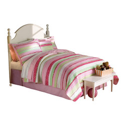 Pem America - Annas Ruffle Pink Full / Queen Quilt with 2 Pillow Shams - Hand crafted horizontal stripes floral prints in pink and green with ruffle highlights.  The simple horizontal design is highlighted by a rag finish highlighted on the surface of the quilt.  This unique looks brings and added surface texture to the quilt.
