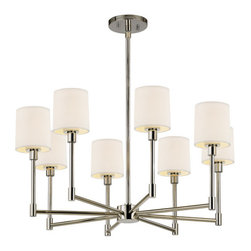 Sonneman - 2476.35 Polished Nickel Embassy LED 8 Light Single Tier Chandelier - Lamping Technology: LED - Light Emitting Diode: Highly efficient diodes produce little heat and have an extremely long lifespan.