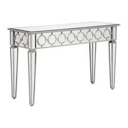 Sophie Mirrored Console Table - Sophisticated, graceful and elegant our exclusive Sophie Console Table demonstrates style and restraint with its contemporary design. While elegantly reflecting its surroundings this collection combines glamour with modernism.  Delicately topped with fully beveled mirror and side aprons of decoratively placed multi-faceted hand-applied beveled mirrors set to create a chic interlacing circular pattern.