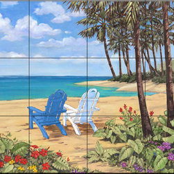 The Tile Mural Store (USA) - Tile Mural - Pb - Discovery Bay I - Kitchen Backsplash Ideas - This beautiful artwork by Paul Brent has been digitally reproduced for tiles and depicts two chairs on a beach.  Beach scene tile murals are great as part of your kitchen backsplash tile project or your tub and shower surround bathroom tile project. Waterview images on tiles such as tiles with beach scenes and sunset scenes on tiles.  Tropical tile scenes add a unique element to your tiling project and are a great kitchen backsplash  or bathroom idea. Use one or two of our beach scene tile murals for a wall tile project in any room in your home for your wall tile project.