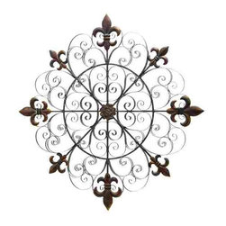 UMA - Fleur de Lis Axis Metal Wall Grill - Eight fleur de lis designs top the axes of this scrolled design wall grille, adding a lovely repetitive effect.