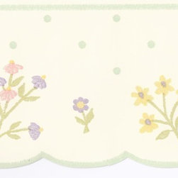 York Wallcoverings - Cream Polka Dot Flower Wallpaper Border - Wallpaper borders bring color, character and detail to a room with exciting new look for your walls - easier and quicker then ever.