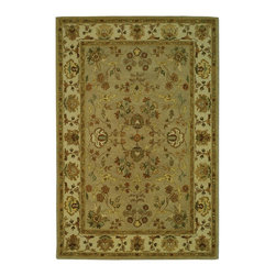 Safavieh - Bergama Green/Brown Area Rug BRG135B - 5' x 8' - The Bergama Collection includes beautiful reproductions which are hand-tufted to create the same symmetrical knots used in the antique rugs in Safavieh's private archival collection of Peshawar rugs. Made in India, the pure wool rugs in this collection recreate the design and quality of Peshawars made for the top end of the market to a broader base of customers with superior hand tufted quality.