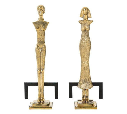 Arteriors - Kato Andirons, Set of 2 - These carefully carved polished brass andirons are most certainly a man and a woman. Note the intricate details on both sides of each one. Finished in polished brass and mounted to a black iron support, they could be in front of your fireplace watching you watch the flames. Decorative use only.