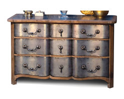 Kathy Kuo Home - Zinc Reclaimed Wood Hollywood Regency 9 Drawer Dresser - Starlet style. Add a little glamour to your boudoir with this Hollywood Regency dresser. An artful combination of reclaimed wood and zinc give it beautiful depth of character and undeniable feminine charm.