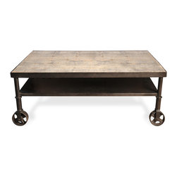 Kathy Kuo Home - Belker Industrial Loft Reclaimed Wood Iron Casters Cart Coffee Table - Our reclaimed azobe wood industrial coffee table is gorgeous wherever you place it, which can vary daily thanks to metal wheels beneath each waxed rust finished leg. Add an artistic accent to any space with this uniquely constructed cart.