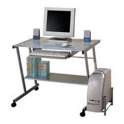 "Coaster - Computer Desk (Silver) By Coaster - Modern Silver Finish Metal Computer Station Desk Table with Glass Top. This is a brand new modern computer station in silver finish with frosted glass top, it features pull out keyboard tray, a shelf under the table top creating an excellent area for printer or scanner. There is a shelf on the left side of the table which is for your CPU. Item is designed to be practical in use to beautify your home decor. Item requires simple assembly. Dimensions: 37""W x 23-5/8""D x 29-1/2""H."