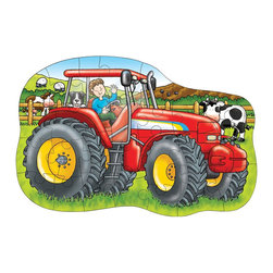 """The Original Toy Company - The Original Toy Company Kids Children Play Big Tractor - Put together the thick, chunky pieces to get this shiny red tractor chugging around the farm. includes a fun activity guide. Ages 3-6. 25 pieces. Puzzle size- 24.5""""x 16"""". Made in England."""